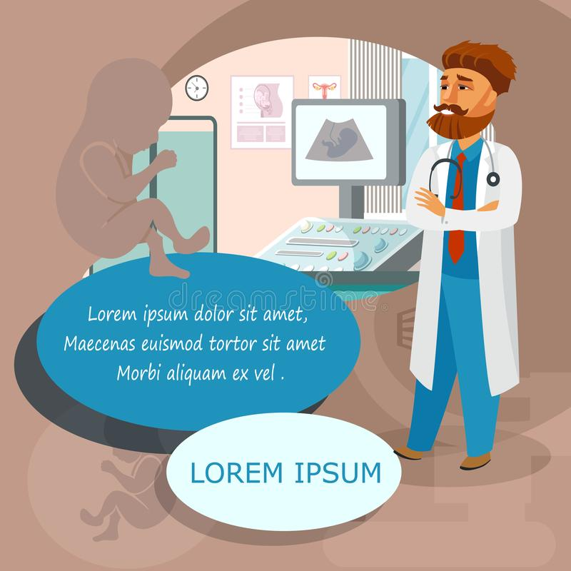Ginecólogo, obstétrico en el dibujo del hospital ilustración del vector