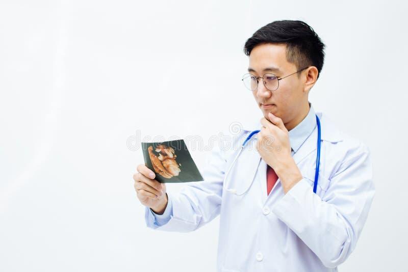 Ginecologista ou ginecologista Physician que olha a foto do raio X do ultrassom fotos de stock royalty free