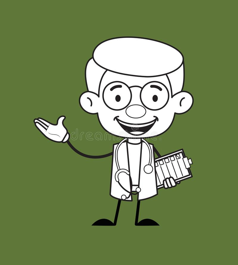 Ginekolog Doctor - Holding Checklist and Showing with Hand Gesture royalty ilustracja