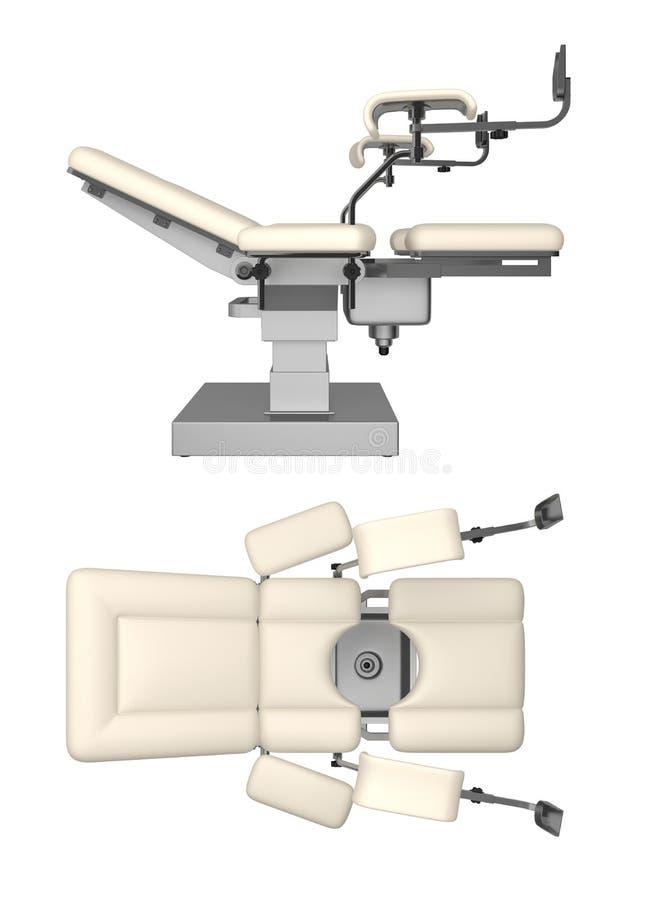 Ginekologiczny egzaminu stół odizolowywający na białym 3d renderingu royalty ilustracja
