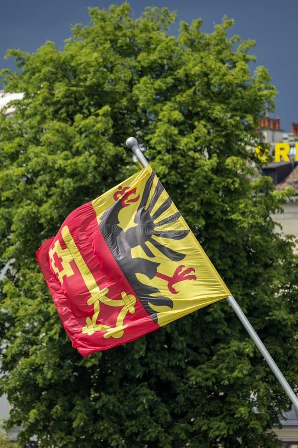 Ginevra Svizzera, lungo il ponte di Mont Blanc immagine stock libera da diritti