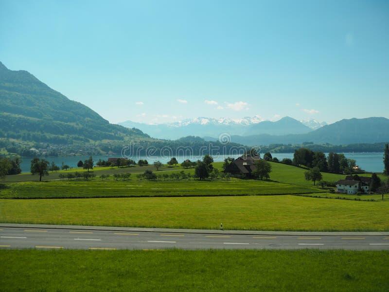 GINEVRA, SVIZZERA - 31 MAGGIO 2017: Bella vista nel lago di Ginevra e nel paesaggio urbano di Ginevra fotografia stock libera da diritti
