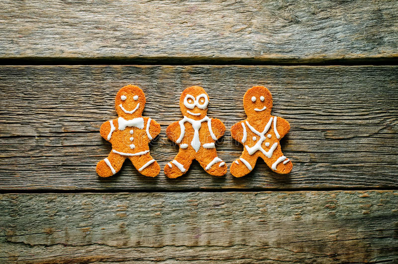 Ginger biscuit. On a dark wood background. tinting. selective focus royalty free stock photography