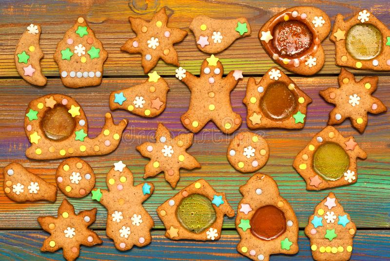 Ginger biscuits on a colorful bright background royalty free stock images
