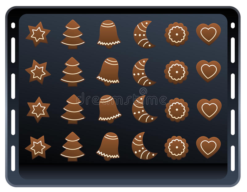 Ginger Bread Cookies Baking Plate ilustração stock
