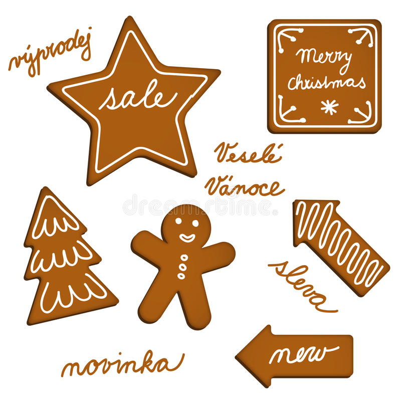 Ginger bread web elements. Vector ginger bread web elements with English and Czech texts stock illustration