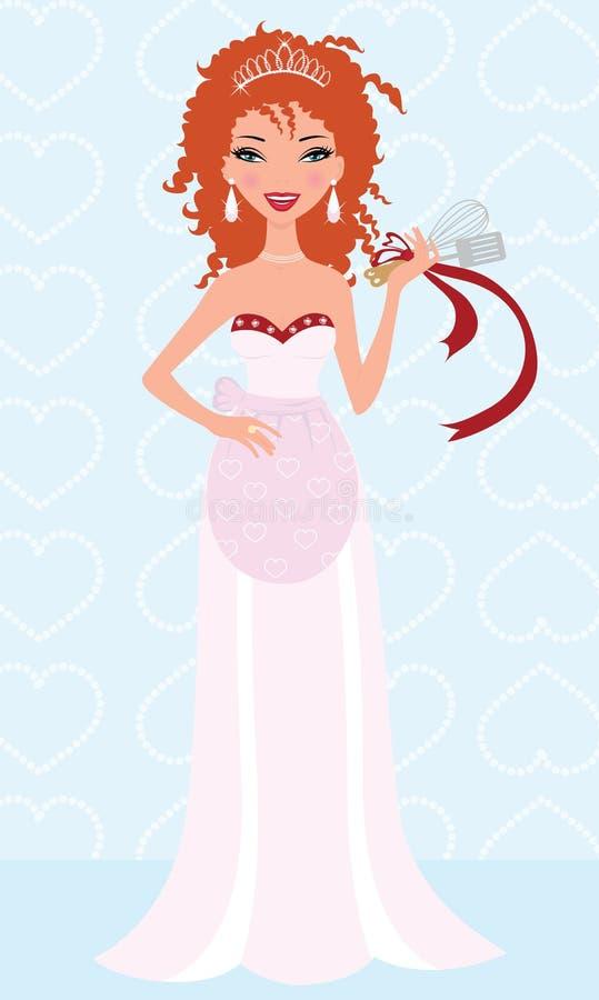 Ginger bride cooking up some love stock illustration
