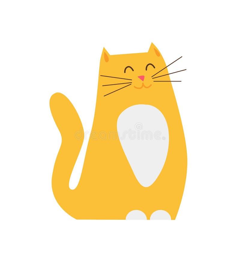 Ginger Cat Pet Closeup Vector Illustration sonriente ilustración del vector