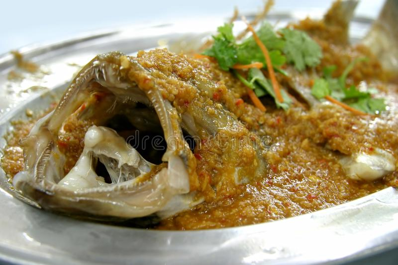 Ginger Chilli Steamed Fish Stock Photo