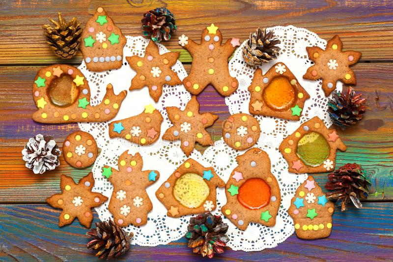 Ginger cookie top view. Tasty Christmas background. stock photo