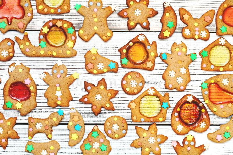 Christmas gingerbread cookies on white table stock images
