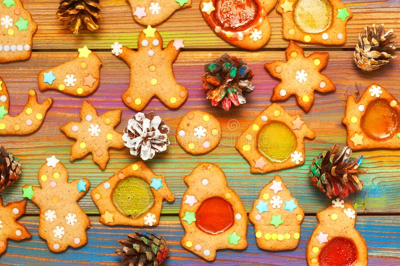 Ginger cookies on the wooden background. stock images