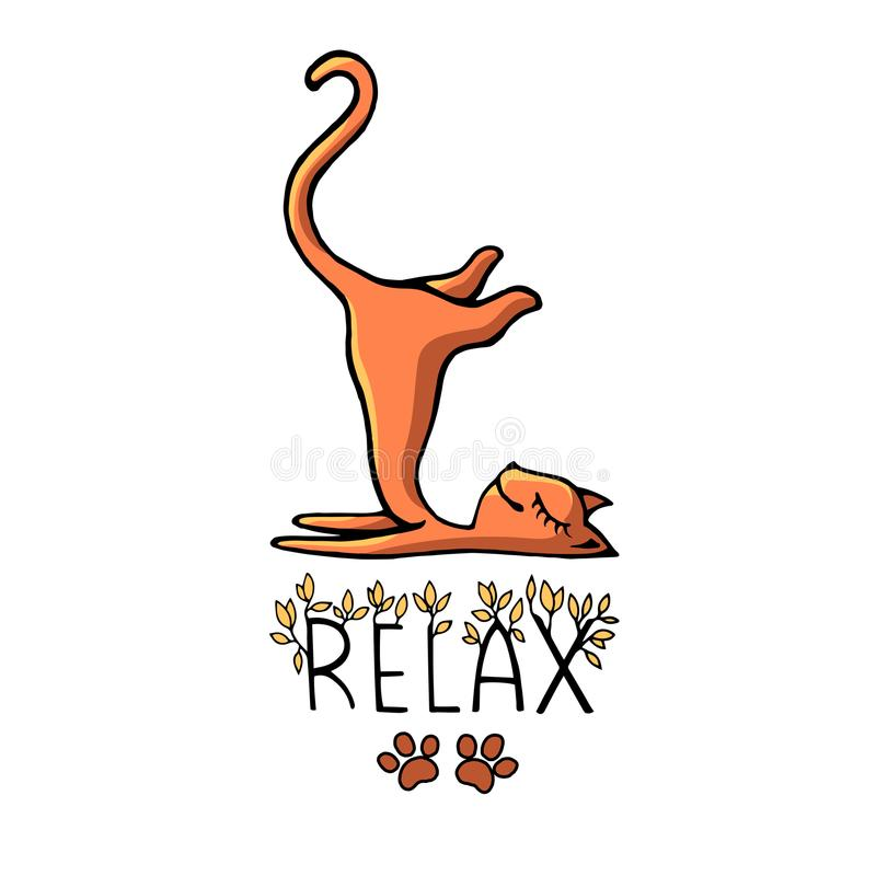 Ginger funny cat lies in a funny pose and smiles. Drawing a cartoon style with the inscription vector illustration