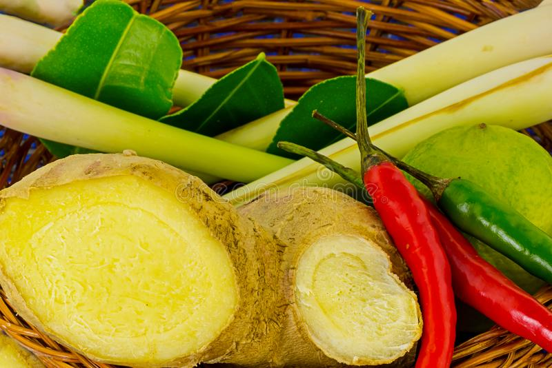 Ginger galang chili pepper lemongrass main ingredient vegetables flavored soup tom yam close-up stock photography
