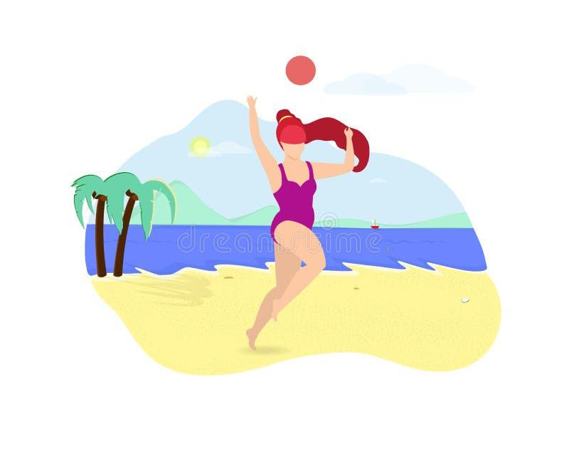 Ginger Girl Playing com a bola na praia do lado de mar ilustração royalty free
