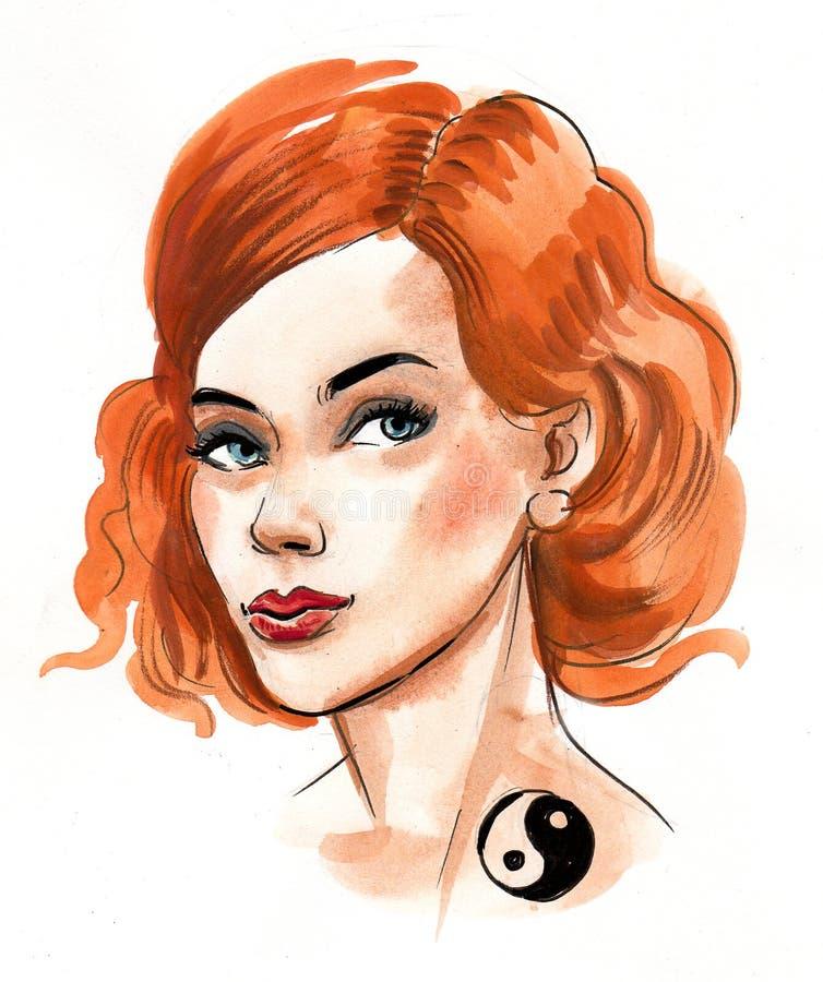 Ginger hair beauty vector illustration
