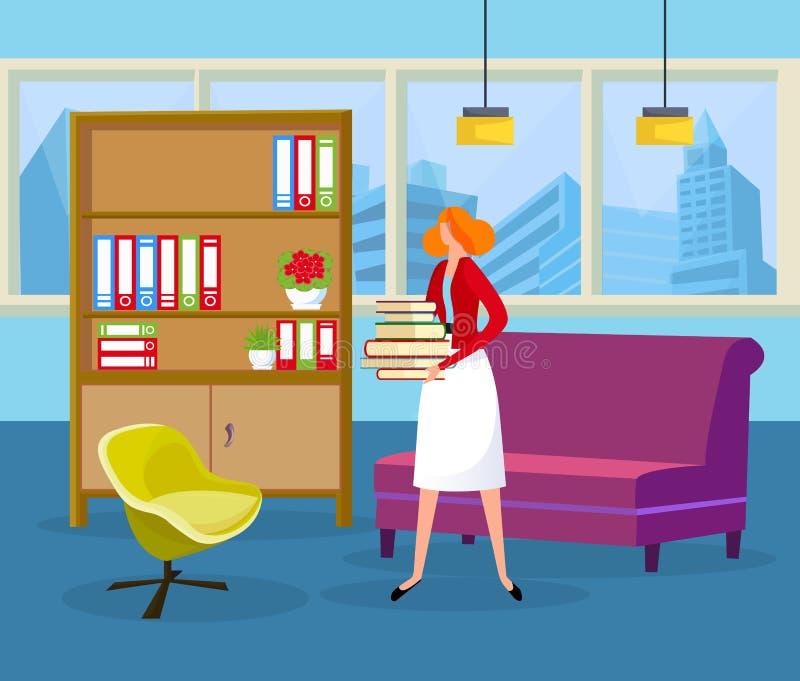 Ginger Hair Woman Holding Pile dos livros nas mãos ilustração royalty free