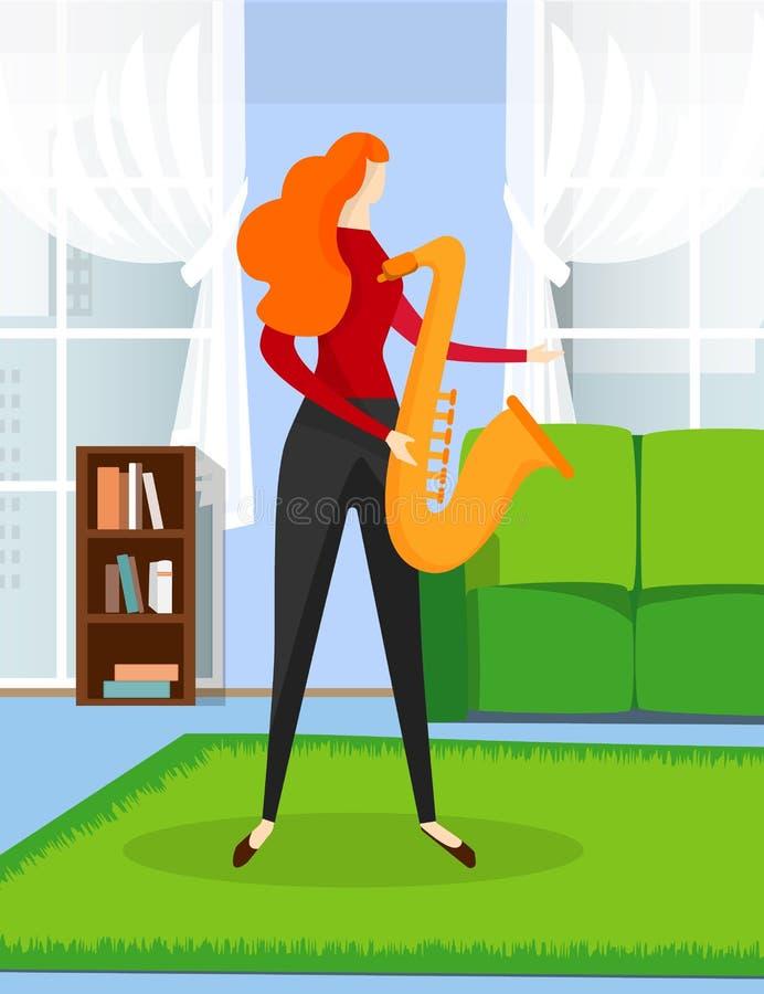 Ginger Haired Woman Training para jogar a música pelo saxofone ilustração stock