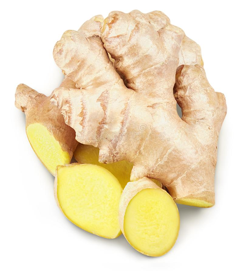 Ginger Isolated on a white stock photos