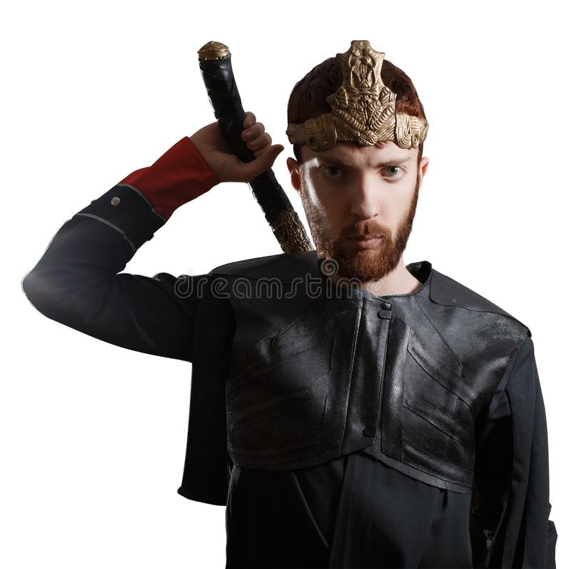 Ginger king knight with sword royalty free stock image