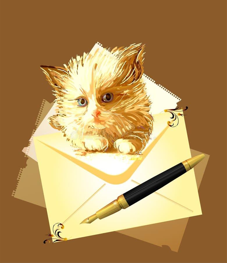 Download Ginger Kitten With Envelope. Stock Illustration - Image: 17966253