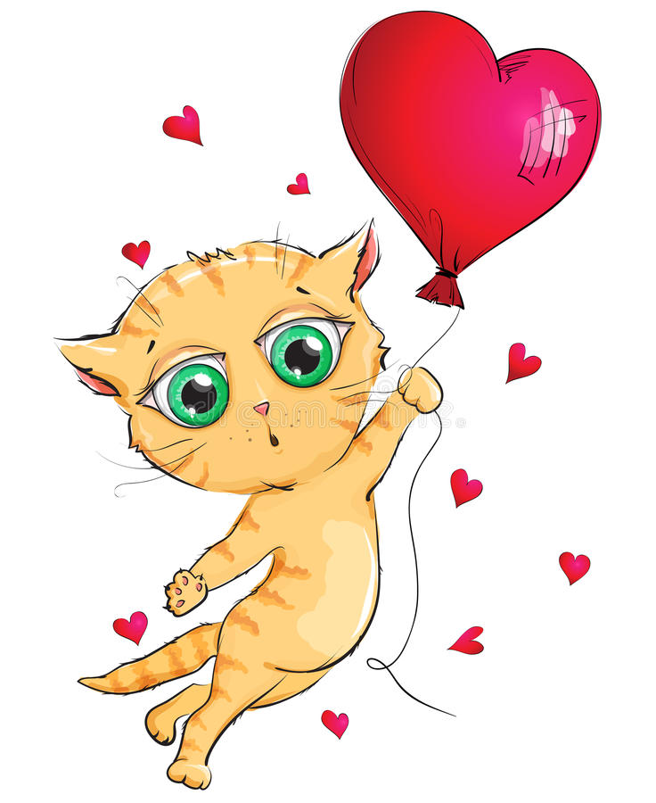 Ginger kitten is flying in a hot air balloon vector illustration