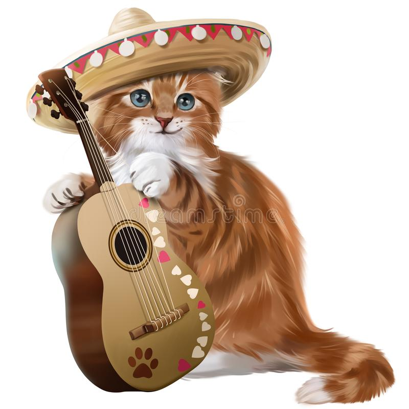 Download Ginger Kitten Playing The Guitar Watercolor Painting Stock Illustration - Illustration of rock, amigo: 114333508