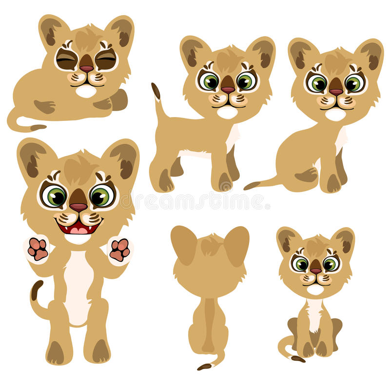 Ginger kitty in different poses. Vector animal vector illustration