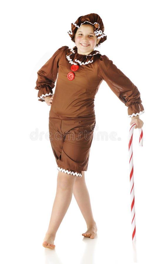 Ginger, Leaning On A Candy Cane Stock Images