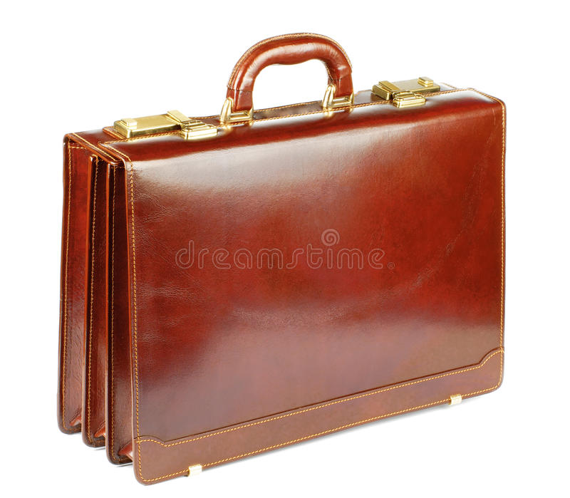 Ginger Leather Briefcase immagini stock