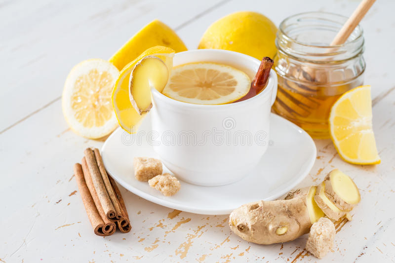 Ginger lemon cinnamon tea stock photos