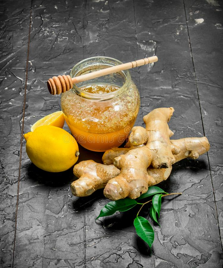 Ginger with lemon and honey royalty free stock photography