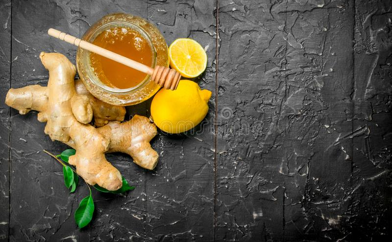 Ginger with lemon and honey stock photos