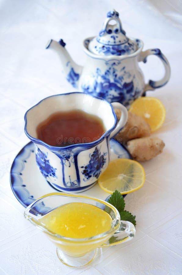 Ginger lemon honey tea. Still life royalty free stock photos