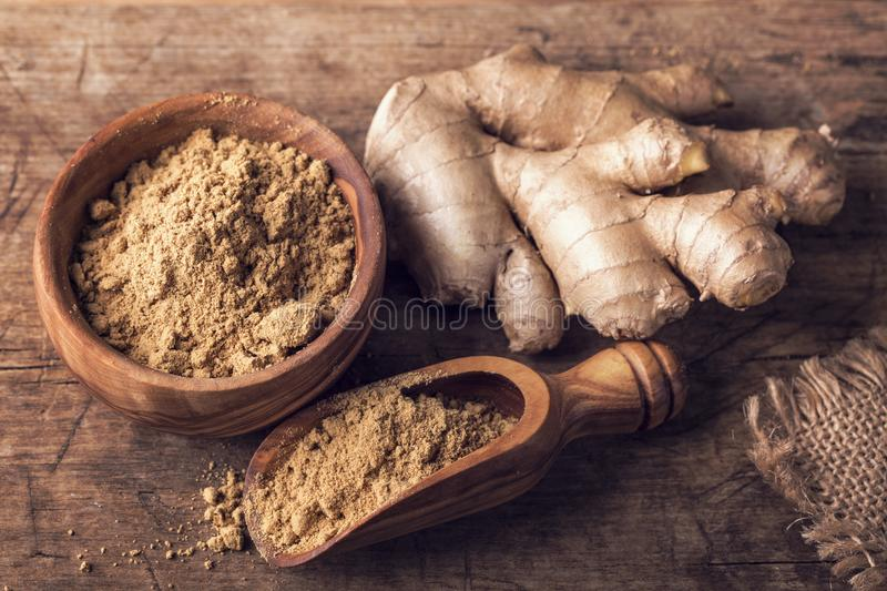 Download Ginger powder and roots stock image. Image of yellow - 106515089