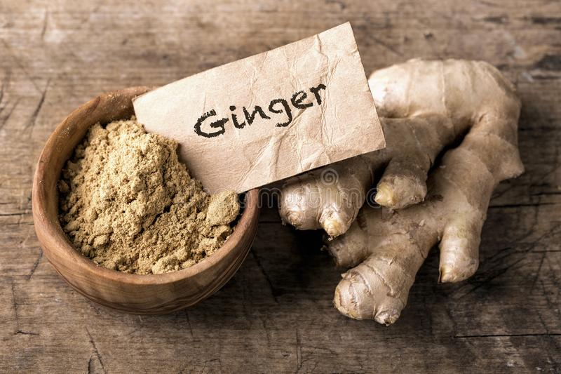 Download Ginger powder and roots stock image. Image of superfood - 106514977
