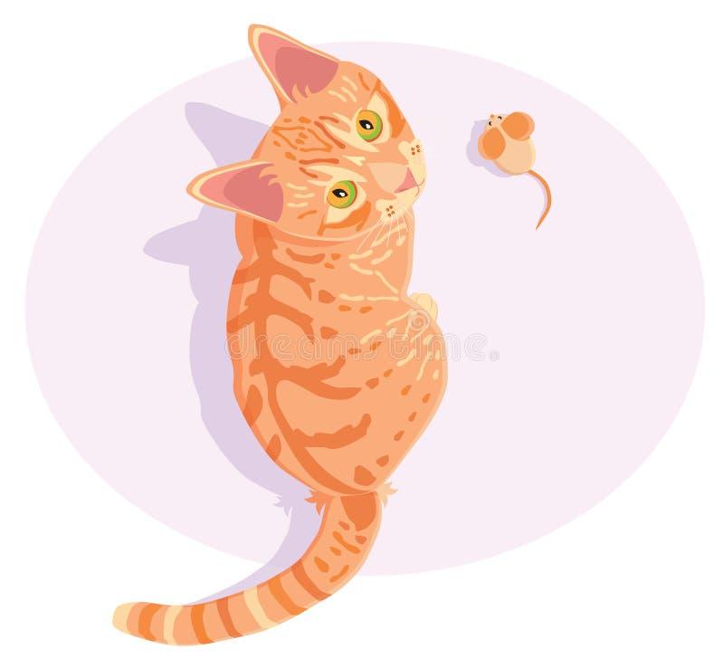 Ginger red tabby cat stock illustration