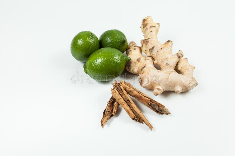 Ginger root with lemon and cinnamon photo on neutral background.  royalty free stock images
