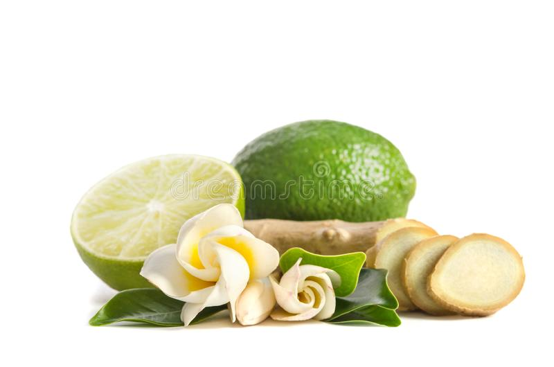 Ginger root and lime whole and half with flowers and leaves royalty free stock images