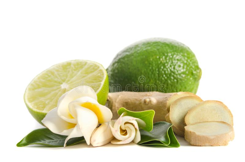 Ginger root and lime whole and half with flowers and leaves on white background royalty free stock photos