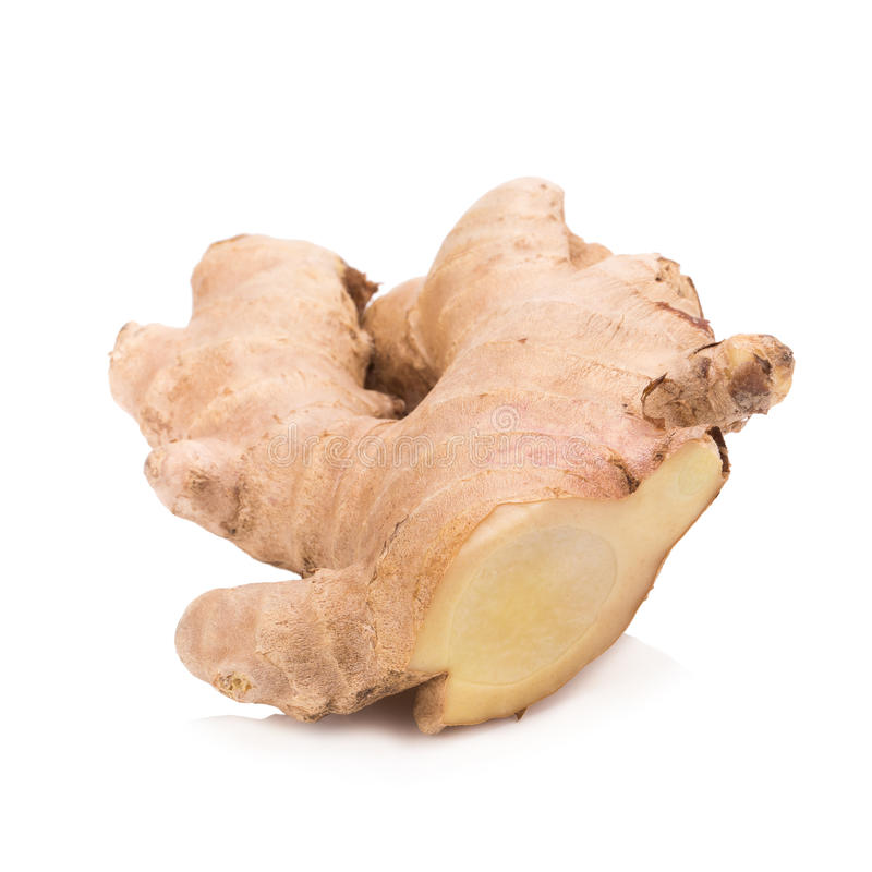 Ginger root slices isolated on white background stock photo