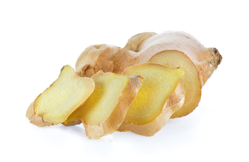 Ginger root on white background stock images