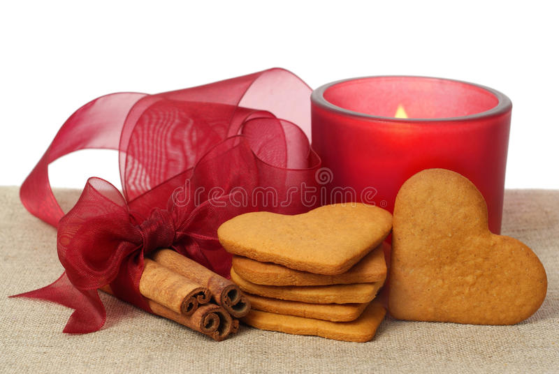 Ginger Snap, Cinnamon And Candle Royalty Free Stock Image