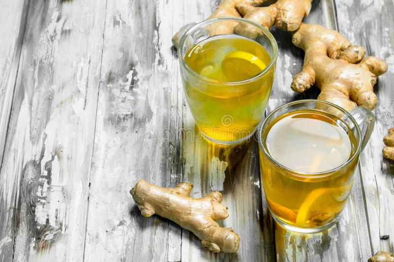 Ginger tea and fresh ginger royalty free stock image