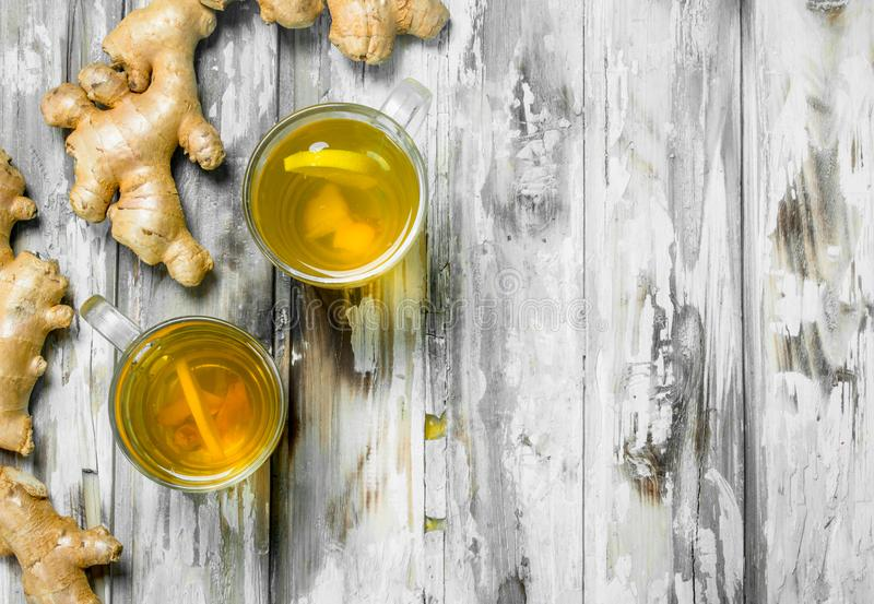 Ginger tea and fresh ginger stock photos