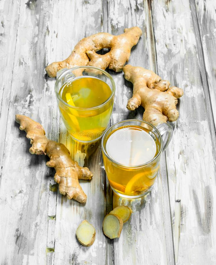 Ginger tea and fresh ginger royalty free stock photos