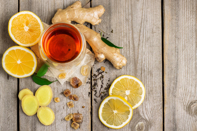 Ginger tea and ingredients stock photo