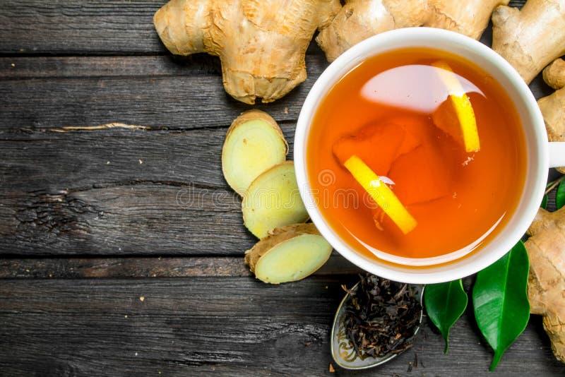Ginger tea with lemon stock photos