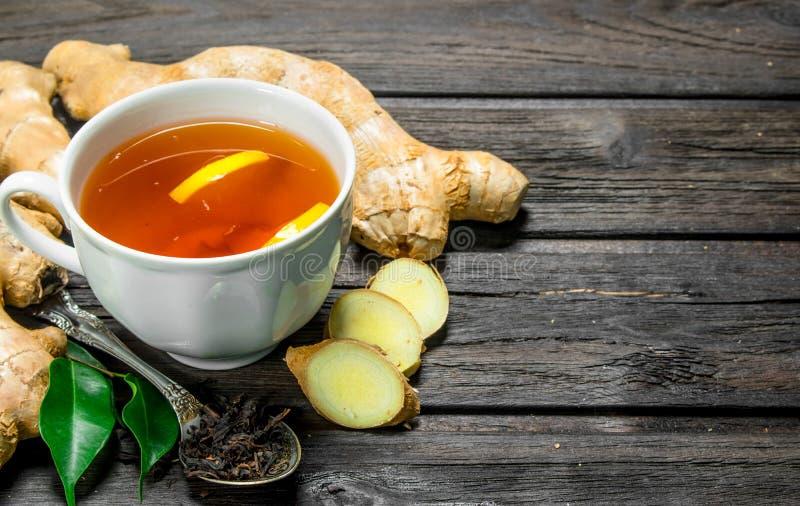 Ginger tea with lemon stock image