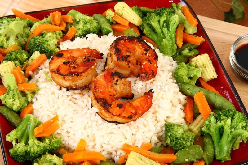 Ginger Teriyaki Shrimp with Rice and Veggies royalty free stock photos